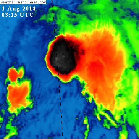Intense convection building around the center of Tropical Storm Bertha